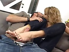 three footjob