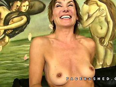 white mature lady cougar invites a young college
