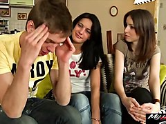 hanna pale and olga black are having threesome with a...