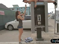 three sexy ladies planking on the street for some money
