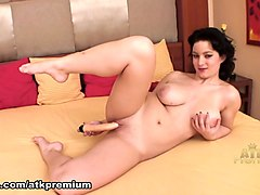 milf with big tits rides dildo