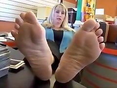 mature stocking feet